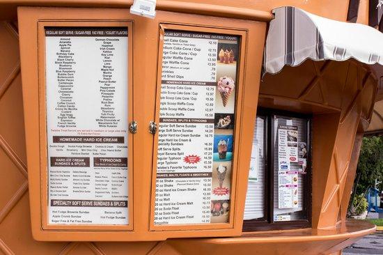 Twistee Treat: menu board