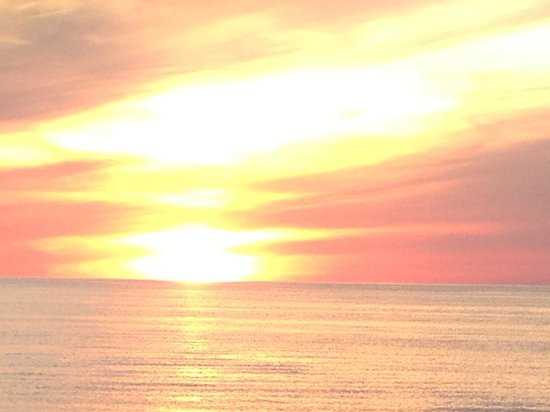 Sunset from the Five Bells Inn beach