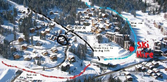 Chalet Topaz : Aerial pic of piste and chalet