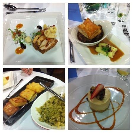 Restaurant VMF: chicken tikka terrine, steak pie and extras and peanut butter choc cheesecake.