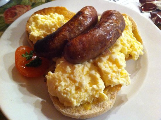 Wylie's: Scrambled egg & sausage on an English muffin