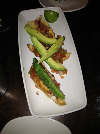 Liberty Grill: Avocado, tomato on chilli toast starter
