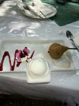 Goblin's Cove: The Poached pear and white chocolate ice-cream dessert.