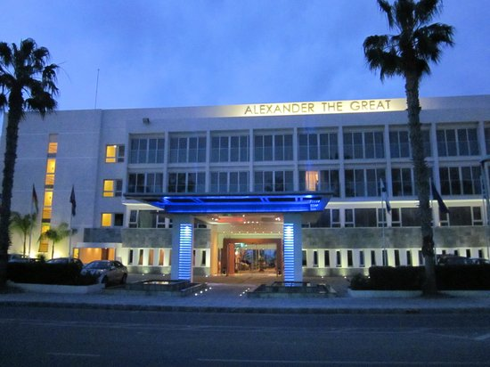 Alexander The Great Beach Hotel: outside the hotel entrance at night