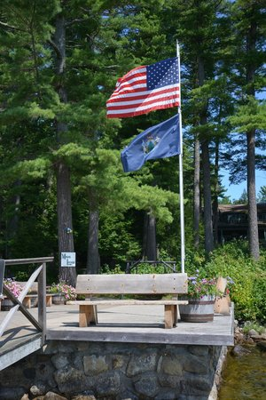 Migis Lodge: our main dock, with Maine state flag
