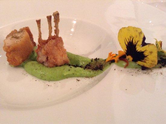 Ristorante PorriOne: Coniglio fritto su salsa di broccoli e polvere di olive nere e capperi.
