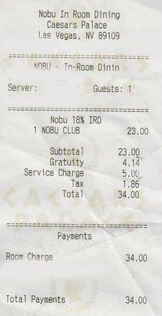 Nobu Hotel at Caesars Palace: Extraordinarily Expensive Room Service
