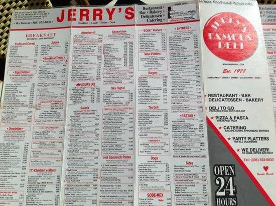 Jerry's Famous Deli : la carte du Jerry's