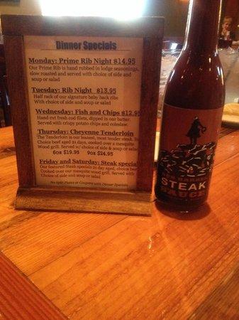 Gun Barrel Steak & Game House : Specials w/Restaurant Steak Sauce