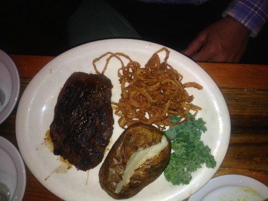Gun Barrel Steak & Game House : Elk Chop w/Cajun onion straws