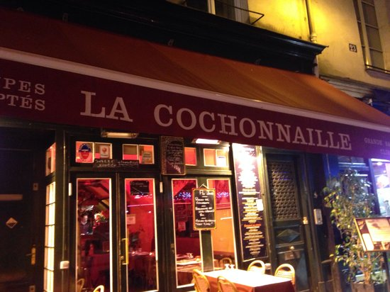 La Cochonnaille: The restaurant outside at night