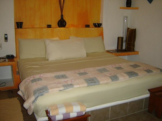 Casita de Maya: King Size Bed Room at far end of the pool