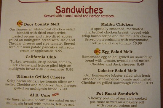 The Egg Harbor Cafe Menu