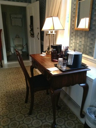 Old Sturbridge Inn & Reeder Family Lodges : Coffee maker on desk, bath in background