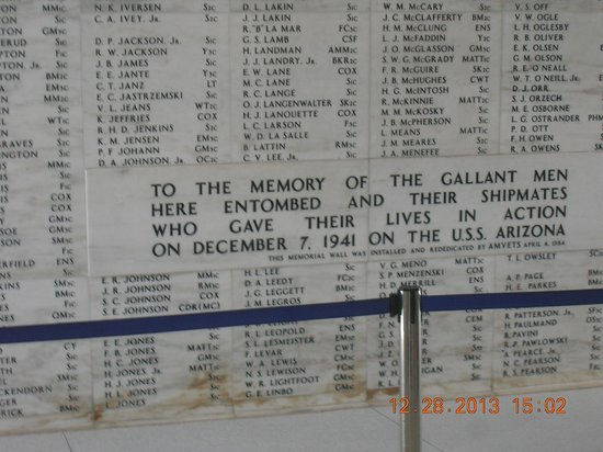 USS Arizona Memorial/World War II Valor in the Pacific National Monument: memorial wall inside the USS Arizona Memorial
