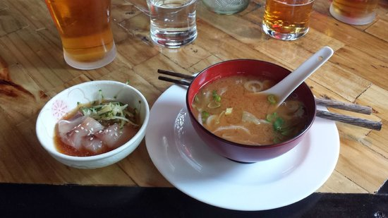 Kotaro : Miso Soup and Fresh Fish Appetizer
