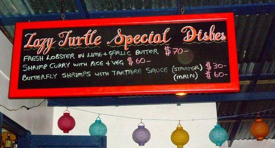 Lazy Turtle Restaurant & Pizzeria: Daily menu - check the prices - yes, this $EC, not US