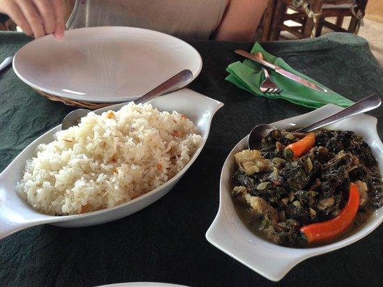 Bayanihan: Dried Taro Leaves with Pork and Garlic Rice