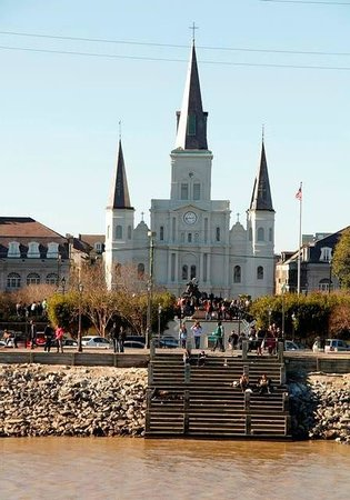 Steamboat Natchez: New Orleans Cathedral from the river