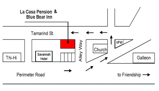 La Casa Pension - Blue Boar Inn : Location Map