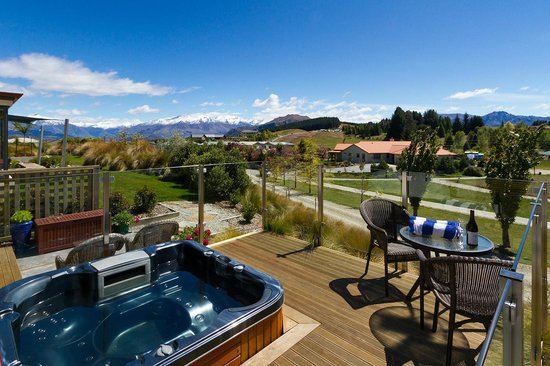 Websters on Wanaka Lodge: view from shared balcony with spa pool