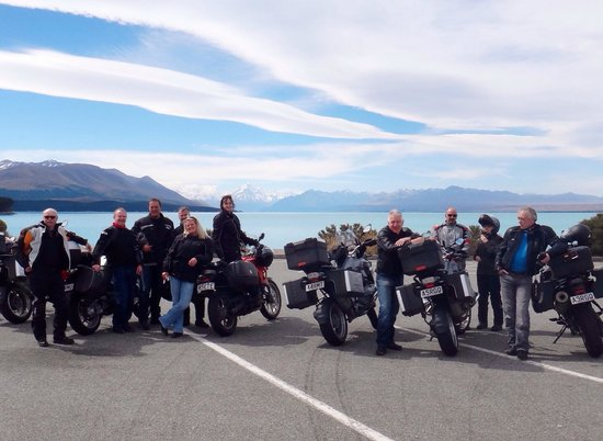 Paradise Motorcycle Day Tours: Our tour group with Mount Cook in the background