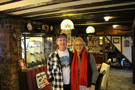 The Swan Inn: Us in the dining area inside the Inn