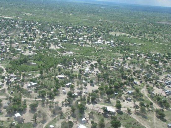 Okavango Delta: Maun from above