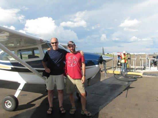 Okavango Delta: Us after the flight