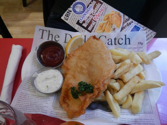 London fish and chips current menu picture of london for Fish and chips london