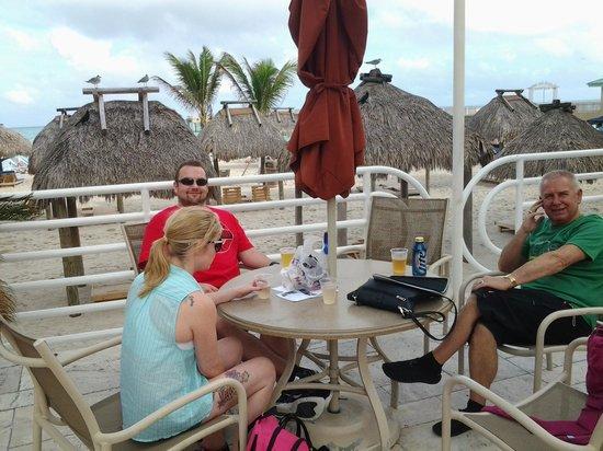 Newport Beachside Hotel and Resort : having a little vino on beach terrace