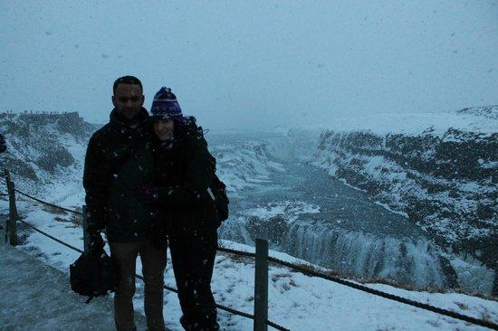 Gullfoss: Snowy waterfall!