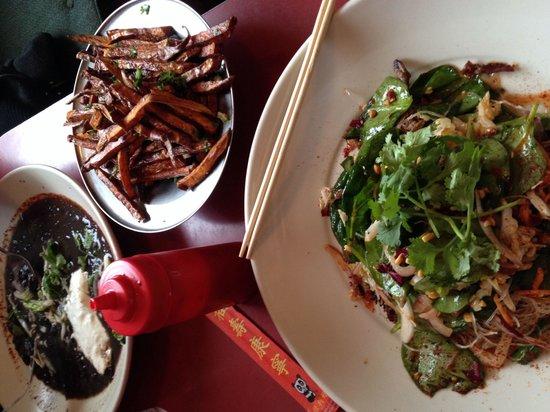 Cafe Miranda : Black bean soup, sweet potato fries, and Beef Groce.  Superb.