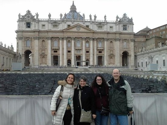 Private Tours of Rome - Vatican, Sistine Chapel and Colosseum Tours : Vera Orabona, our guide & us outside of St Peters