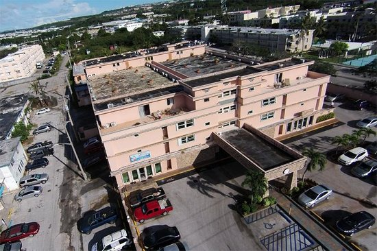 Wyndham Garden Guam: Aerial view of the hotel as seen by my drone.