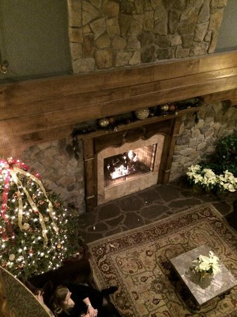Grand Cascades Lodge: Looking below to fireplace in lobby