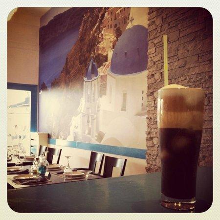 Santorini Greek Taverna : Iced cold Freddo Cappuccino!