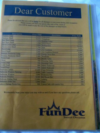 List Of Damage Cost Picture Of Fundee Boutique Hotel