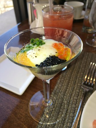 Four Seasons Hotel Houston : Soft boiled egg topped with caviar, cracked pepper and olive oil, UNBELIEVABLE!