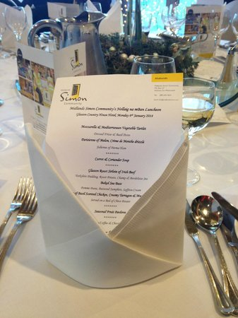 Glasson Country House Hotel & Golf Club : Our lovely menu