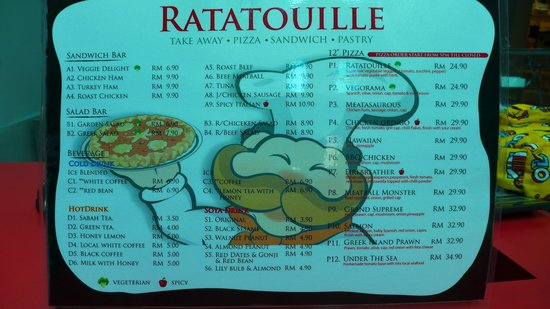 Ratatouille Warisan Square: menu