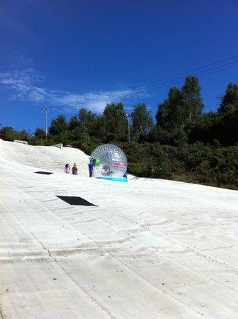Warmwell Holiday Park Ski Slope: Zorbing at Warmwell Ski Slope