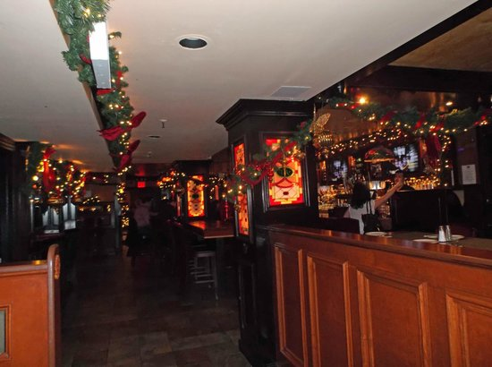 the irish american pub nice lighting and cheerful christmas decorations
