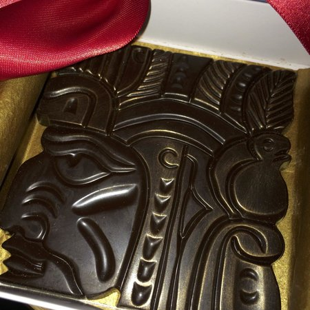 Xocodiva : Dark Chocolate Mayan head with gold painted accents