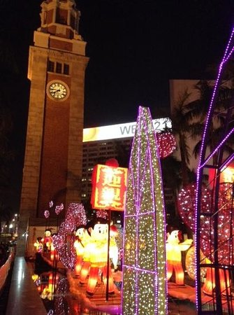 Former Kowloon-Canton Railway Clock Tower: Chinese New Year/Valentine's Day decorations near Clock Tower