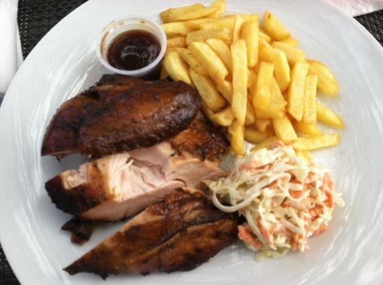 Doctor's Cave Beach: Jerk chicken! Jerk means hot and spicy btw