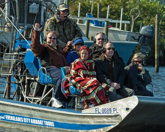 Everglades City Airboat Tours : family on another boat