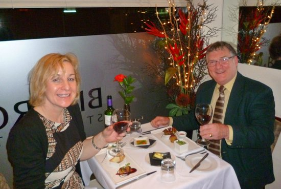 Bistro21: my wife and myself before tasting the starters