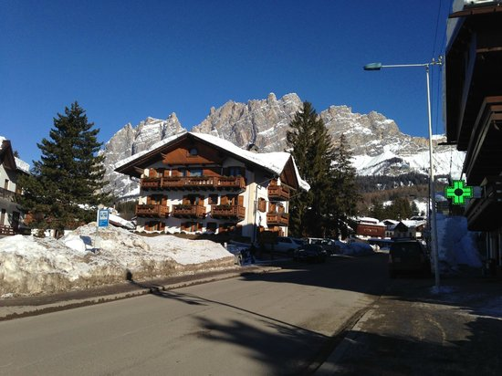 Hotel Natale on a sunny day. Photo taken from the skibus stop.