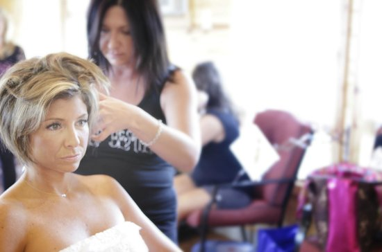 Buena Vista Farms, Inc. : Bride getting ready for the wedding in BV cabin salon